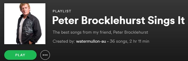 Peter Brocklehurst playlist on Spotify